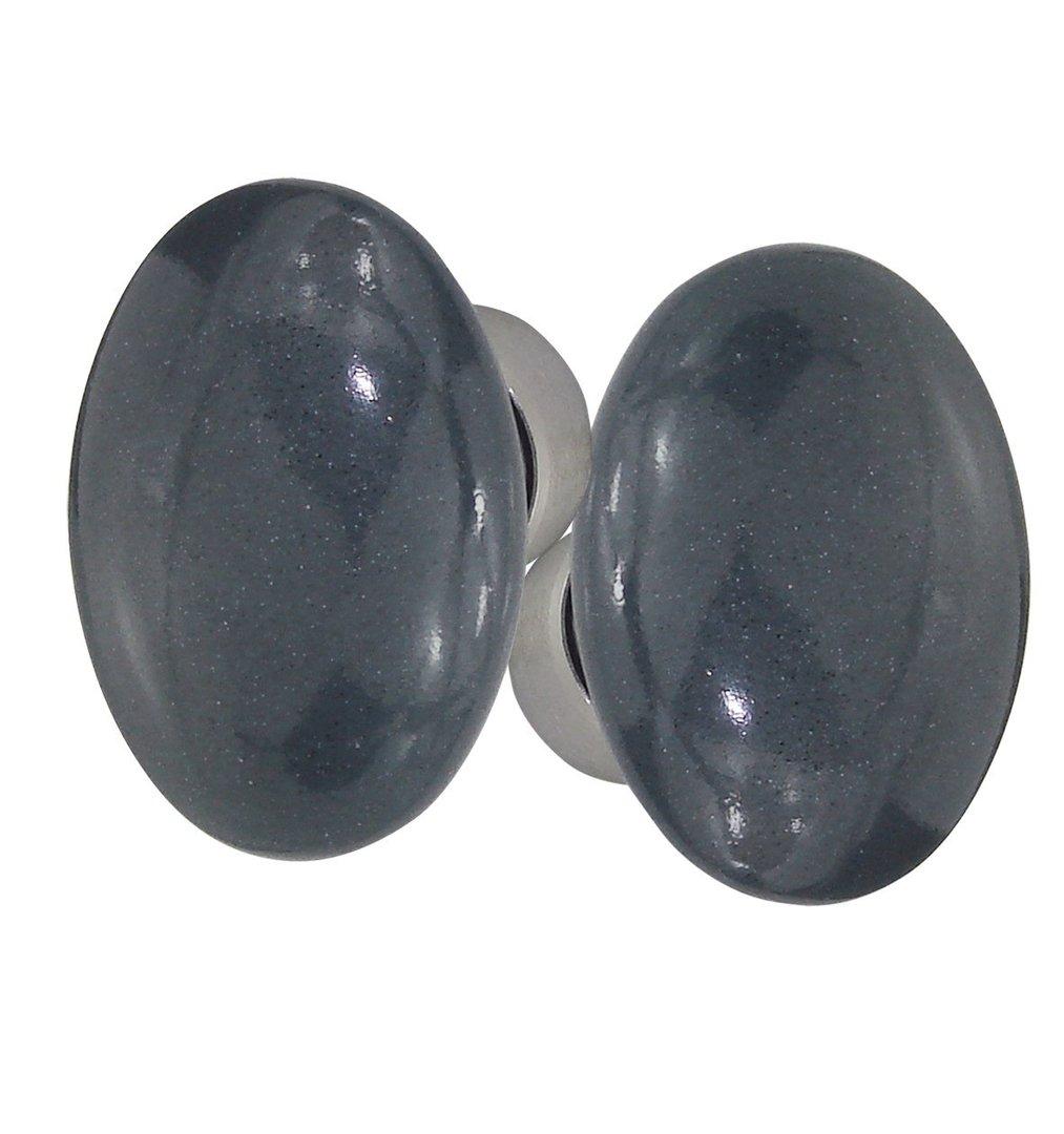 poign es ovale porcelaine bleu cendr nickel sat. Black Bedroom Furniture Sets. Home Design Ideas