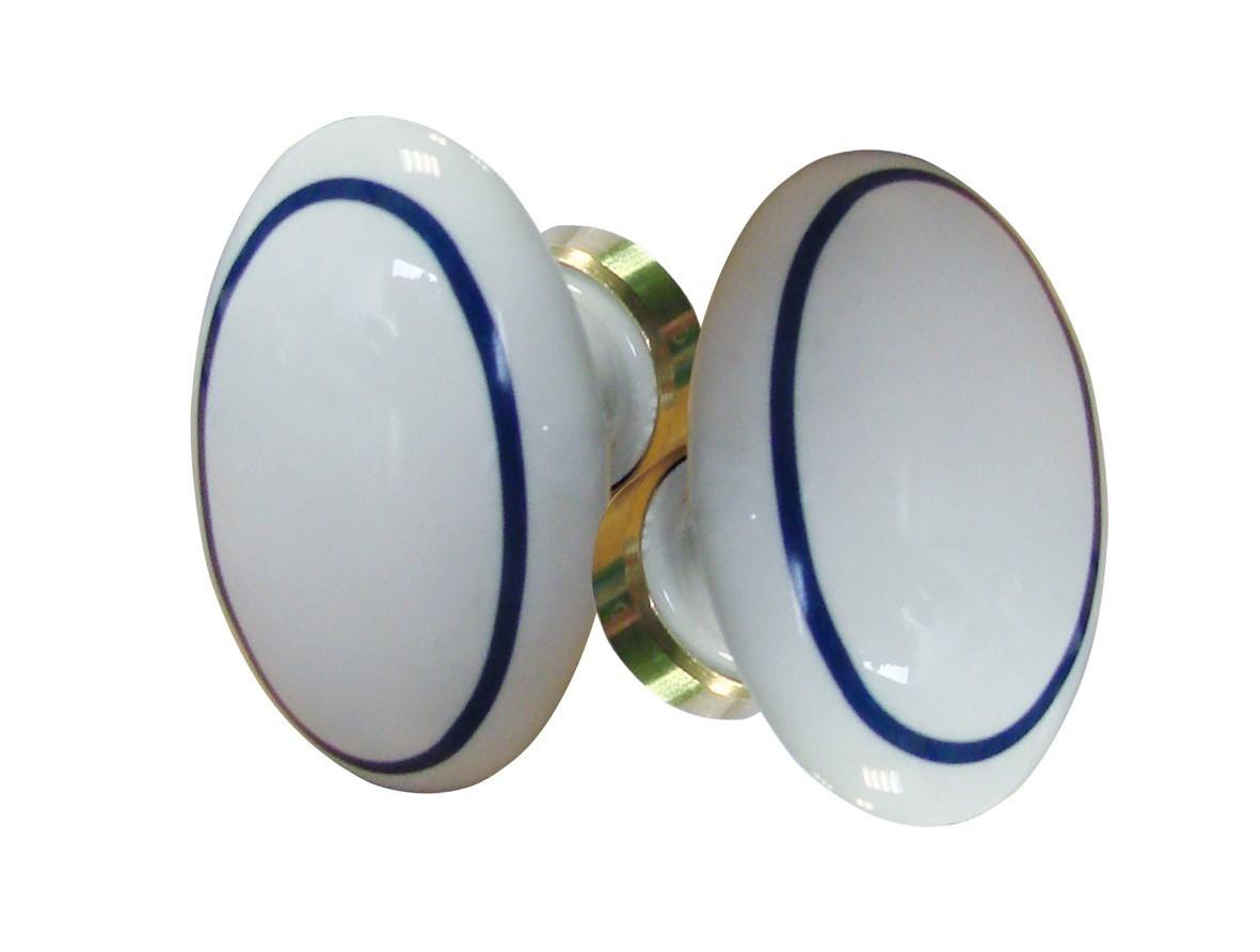 Poign e double ovale porcelaine filet bleu laiton poli - Poignees de porte en porcelaine ...