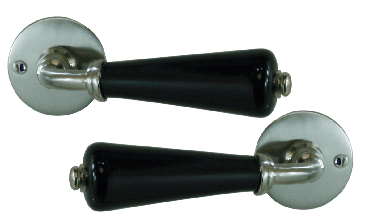 b quilles doubles canon sur rosace porcelaine noir brillant doortools poign es de porte. Black Bedroom Furniture Sets. Home Design Ideas