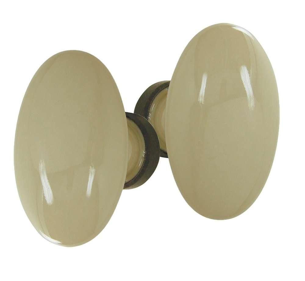 Poignees Ovale Porcelaine Beige Rouille Doortools Poignees De Porte