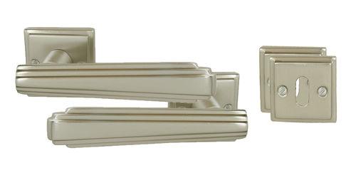 Portes anciennes, serrurerie 2 poignées Aluminium porte d'intérieur carré de 6 décor Art Déco Art Déco